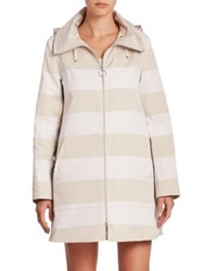 Akris Punto Reversible Striped Rain Coat Cream Sail