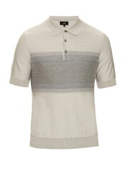 Dunhill Striped Cotton And Silk Blend Polo Shirt Light Grey