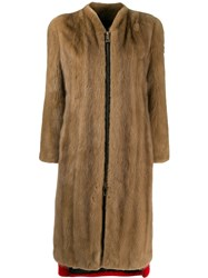 Philipp Plein Colour Block Long Coat Brown