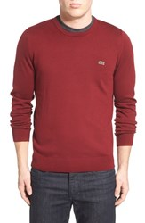 Men's Lacoste Trim Fit Crewneck Sweater Pinot Navy Blue