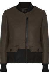 Tim Coppens Twill Trimmed Wool Bomber Jacket Army Green