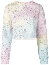The Elder Statesman Rainbow Print Sweatshirt Blue