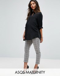 Asos Maternity Cigarette Trouser In Grid Check Grid Check White
