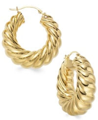 Signature Gold Ribbed Hoop Earrings In 14K Gold