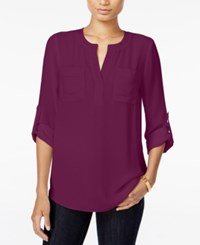 Maison Jules Roll Tab Sleeve Blouse Only At Macy's Cherry Plum