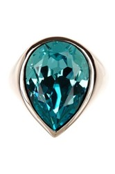Candela Sterling Silver Turquoise Swarovski Crystal Accented Pear Shaped Ring Blue
