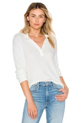 Monrow Mock Neck Henley Top Cream
