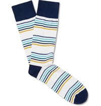 Corgi Striped Cotton Blend Socks White