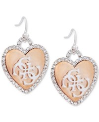 Guess Two Tone Crystal Heart Drop Earrings Silver Rose Gold