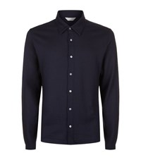 Gieves And Hawkes Long Sleeve Wool Collar Shirt Male Navy