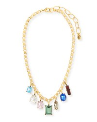 Sequin Multicolor Dangling Crystal Statement Necklace Gold