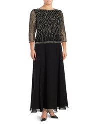 J Kara Plus Beaded And Sequined Popover Gown Black Multi