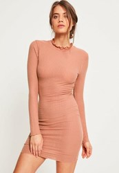 Missguided Pink Frill Edge Ribbed Bodycon Dress