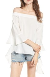 J.O.A. Women's Flare Sleeve Off The Shoulder Blouse White