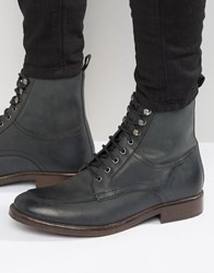 Asos Lace Up Boots In Black Leather With Dark Sole Black