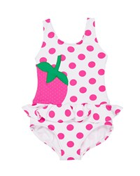 Florence Eiseman Polka Dot Ruffle Strawberry One Piece Swimsuit Size 2 6X White Pink