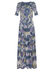Raquel Allegra Tie Dye Drawstring Waist Jersey Maxi Dress Purple Multi