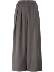 Armani Collezioni Pleated Wide Legged Cropped Trousers Grey