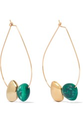 Dinosaur Designs Small Mineral Gold Filled Resin Hoop Earrings Green