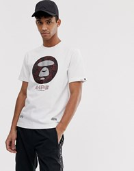 Aape By A Bathing Ape T Shirt With Large 3M Universe Stamp Logo In White