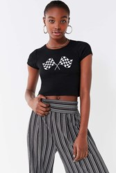 Truly Madly Deeply Racing Flags Cropped Tee Black