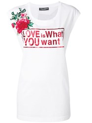 Dolce And Gabbana Love Print Longline T Shirt White