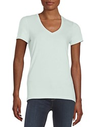 Lord And Taylor Petite Cotton Blend V Neck Tee Moonlight Blue
