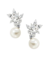Nadri Crystal Cluster And Faux Pearl Drop Earrings Silver