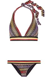 Missoni Crochet Knit Halterneck Bikini Dark Purple