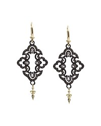 Armenta 18K Yellow Gold And Blackened Sterling Silver Old World Champagne Diamond And White Sapphire Scroll Drop Earrings White Multi