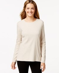 Styleandco. Style And Co. Long Sleeve Crew Neck T Shirt Natural Heather