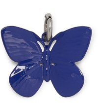 Raf Simons Butterfly Silver Tone And Enamel Charm Blue