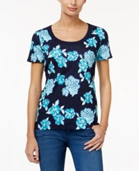 Charter Club Printed Cotton T Shirt Only At Macy's Intrepid Blue Combo