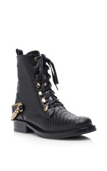 Lanvin Python And Kangaroo Leather Lace Up Boots With Chain Black