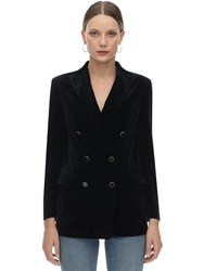 Tagliatore Jasmine Oversize Stretch Velvet Jacket Dark Blue