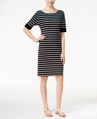 Karen Scott Striped T Shirt Dress Only At Macy's Black Mint