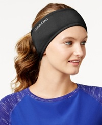 Calvin Klein Performance Jersey Faux Sherpa Lined Headband Charcoal