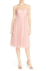 Women's Jenny Yoo 'Maia' Convertible Tulle Tea Length Fit And Flare Dress Begonia Pink