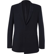 Kilgour Navy Textured Wool Blend Suit Jacket Blue