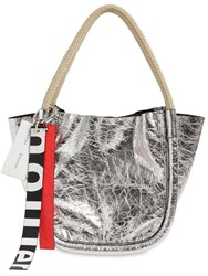 Proenza Schouler Xs Crinkeld Metallic Leather Tote Bag Silver
