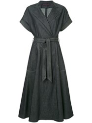 Martin Grant Denim Wrap Dress Blue