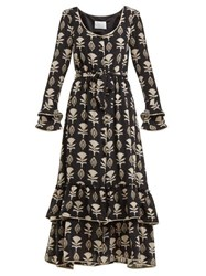 Athena Procopiou Floral Print Silk Dress Black White