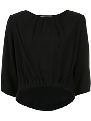 Lilly Sarti Pleated Cropped Blouse Acetate Viscose Black