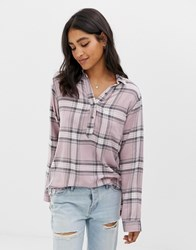 Abercrombie And Fitch Drapey Check Shirt Light Pink Plaid Multi