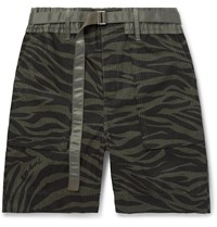Sacai Belted Zebra Print Cotton Ripstop Shorts Green