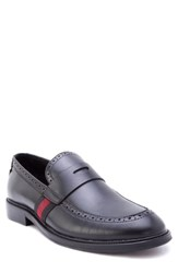 Zanzara Hensel Brogued Penny Loafer Black Leather