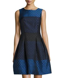 Donna Ricco Fit And Flare Honeycomb Jacquard Dress Blue Navy