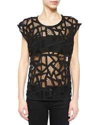 Iro Olpen Mesh Cutout Cap Sleeve Top Black