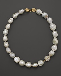 Michael Aram Cultured Freshwater Pearl Necklace With Pave Diamond Botanical Leaf 16 White