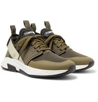 Tom Ford Jago Neoprene Suede And Mesh Sneakers Army Green